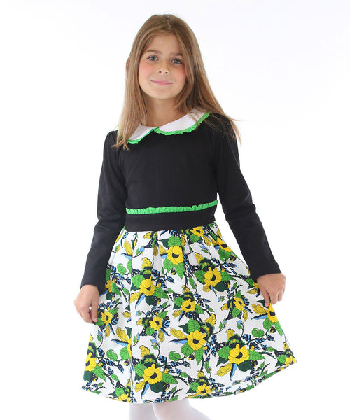 Black Top Flower Dress with Green Ruffled Belt