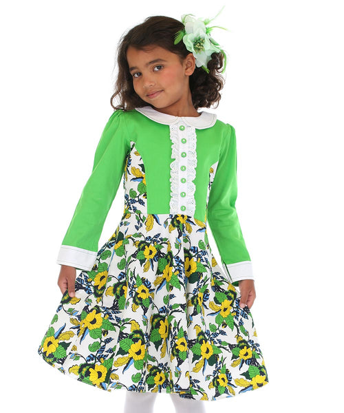 Flower Dress with Green Sleeves