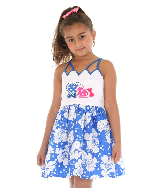 Blue & White Floral Hearts Dress