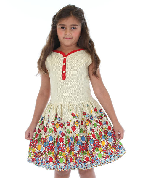 Cream & Red Floral Button-Front Dress