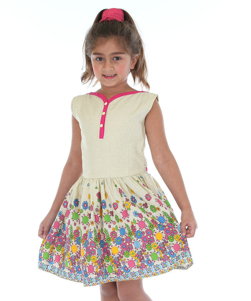 Cream & Pink Floral Button-Front Dress