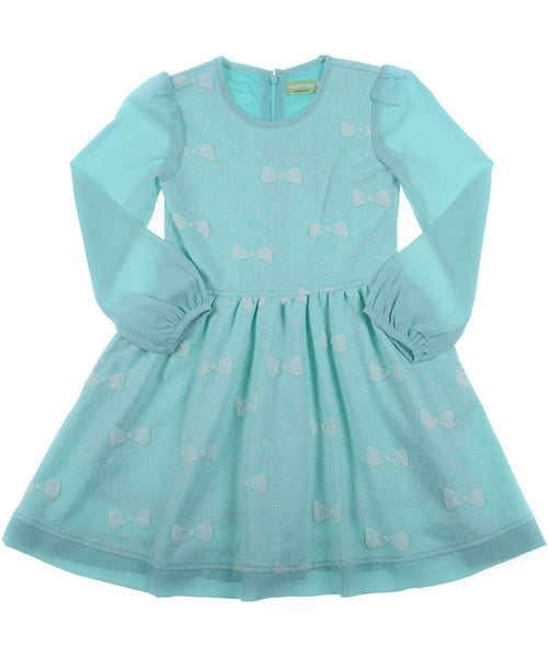 Turquoise Dress with White Bows