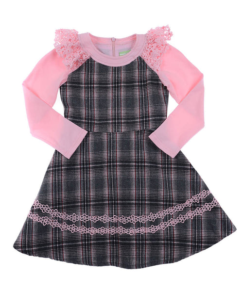 Gray Plaid 100% Wool Dress with Pink Lace