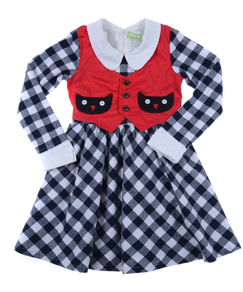 Flannel 100% Cotton Red Vest Dress