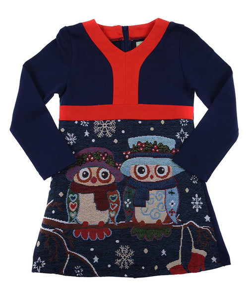 Navy  Dress with Owls