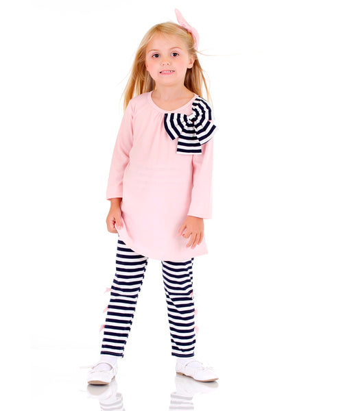 Pink Tunic & Black/White Stripe Leggings