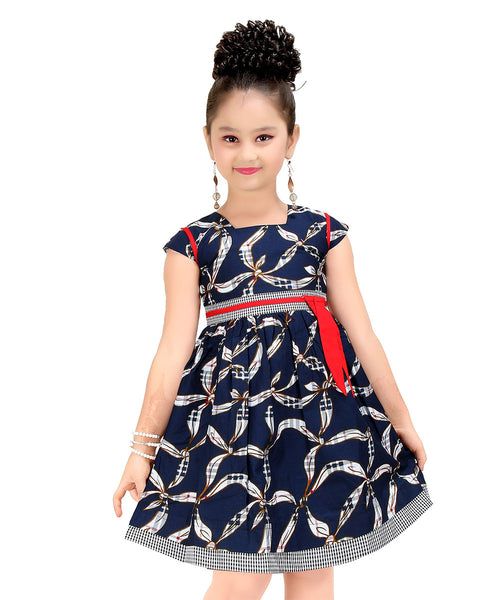 Blue & Red Bow-Accent A-Line Dress