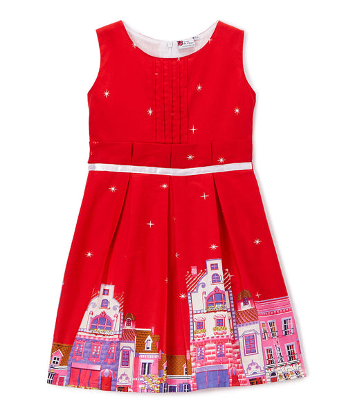 Red & Pink Houses Sleeveless Dress