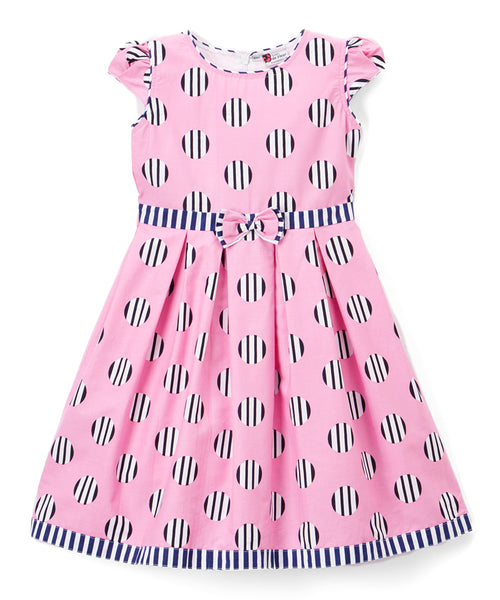 Pink & Black Polka Dot A-Line Dress