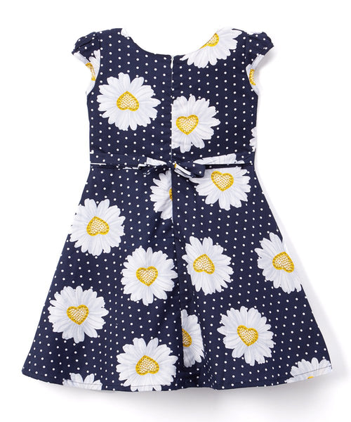 Blue & Yellow Floral & Pin Dot A-Line Dress