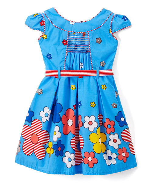 Blue & Yellow Floral Pleated Cap-Sleeve Dress