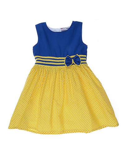 Blue & Yellow Fit & Flare Dress