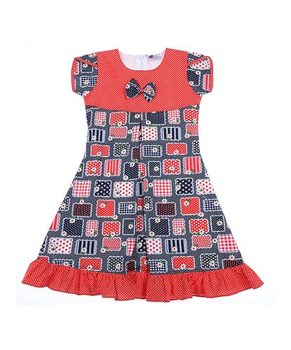 Coral & Navy floral Ruffle-Hem A-Line Dress