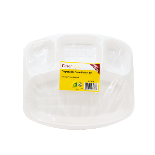 Cater Gold four compartment disposable foam plates - 10pk - SaveCo Cash & Carry