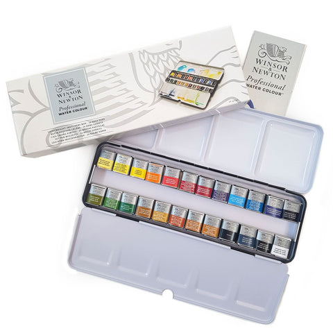 Winsor and Newton : Professional Watercolour : 24 Half Pans
