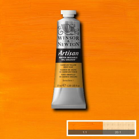 Winsor and Newton Artisan Oil : Water Mixable Oil paint 37 ml : Cadmium Yellow Deep Hue