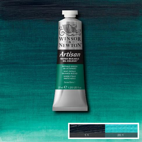 Winsor & Newton Artisan Oil : Water Mixable Oil paint 37 ml : Phthalo Green ( Blue shade )