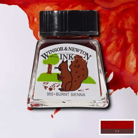 WINSOR & NEWTON : DRAWING INK : 14ML : Burnt Sienna