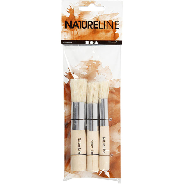 Nature Line Bristle Stencil brushes 11mm 14mm & 17mm x set of 3