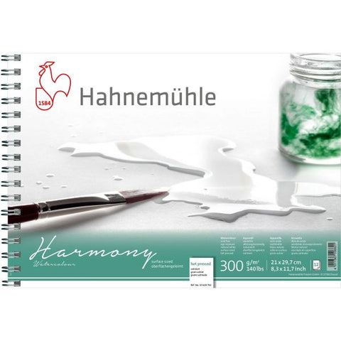 Hahnemühle Harmony Watercolour Hot Pressed Spiral Bound 300gsm x 12 sheets : A4