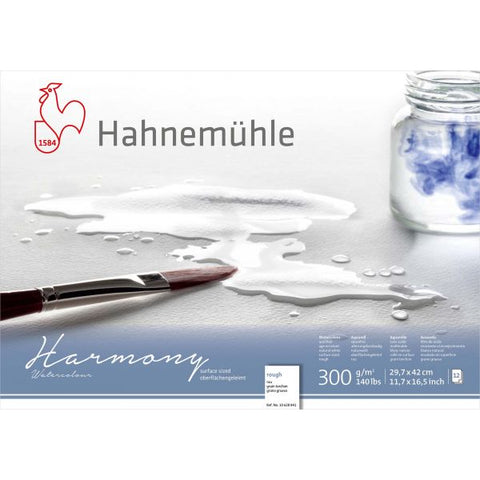 Hahnemühle 'Harmony' Watercolour Block - Rough - 12 Sheets - 300gsm A3 29.7 x 42 cm