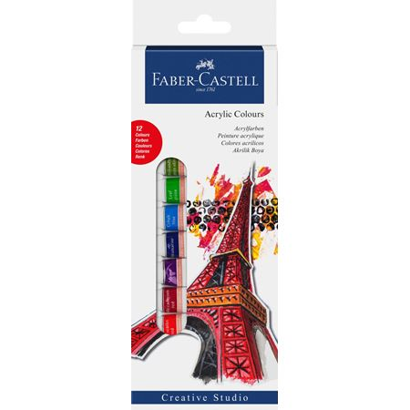 Faber Castell Starter set Acrylic colours, wallet of 12, 12x 12 ml tube