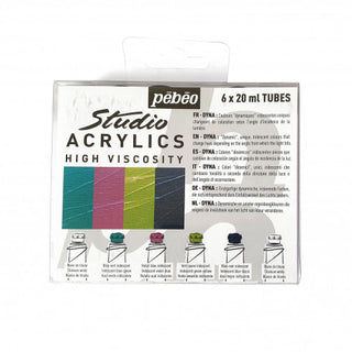 Pebeo Dyna Acrylic Iridescent Paint Set of 6 x 20ml