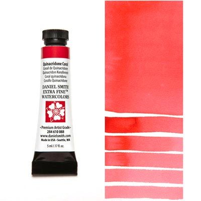 DANIEL SMITH Extra Fine Watercolour : Quinacridone Coral 5ml tube