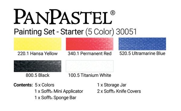 PanPastel 5 Colour Starter Set Painting 30051 & Sofft Tools, this is a perfect little starter set, to experiment and work with PanPastel, the set contains primary colours and black and with for lightening and tinting
