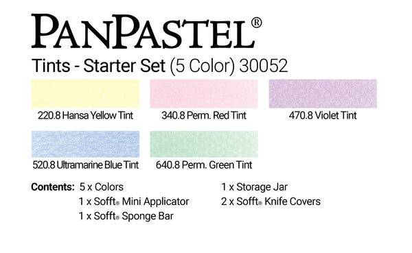 PanPastel 5 Colour Starter Set Tints 30052, soft pastel colours offer a gentle subtle veil of colour. Gorgeous selection of tints with a small selection of application and blending Sofft tools.