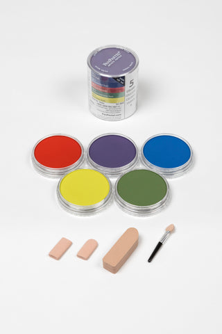 PanPastel 5 Colour Starter Set Shades 30053. PanPastel shade set, includes secondary  colours, perfect for backgrounds as well as creating highlights with Hansa Yellow, and shadows with beautiful greens, blues and red