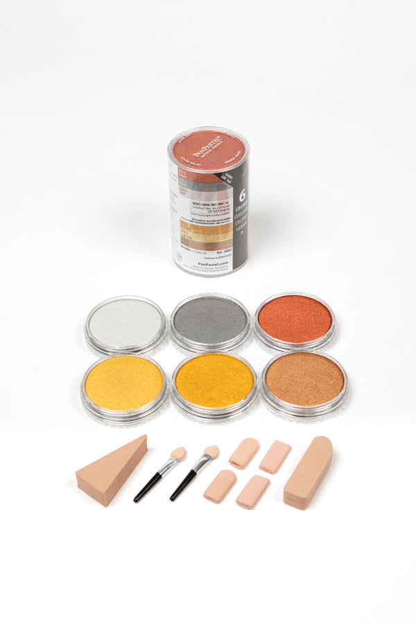 PanPastel  Metallic Colours 6 Pans & Sofft Tools 30061. A beautiful range of 6 rich, lustrous metallic colours which have all the same great properties as the original 80 colours. Includes Silver, Pewter, Bronze, Copper, Light Gold and Rich Gold