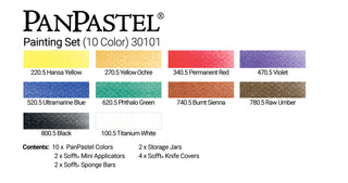 PanPastel 10 Colour Painting set 30101 & Sofft Tools, this is a great colour combination set, includes essential primary colours, plus black and white for tinting and tone, as well as a selection of complementary colours that work well for all subjects and backgrounds