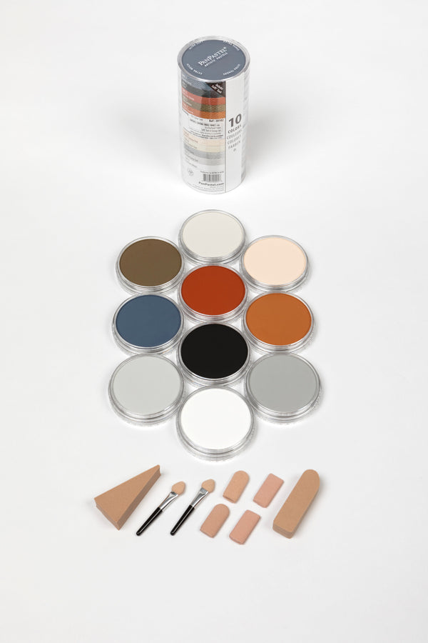 PanPastel Drawing Set 10 colour pans & Sofft Tools Item number 30102. Include a set of Soft mini tools. A great selection of colours from PanPastel, includes essential black and white for tint and tone