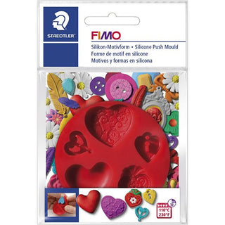FIMO : Silicone push mould : Hearts mould
