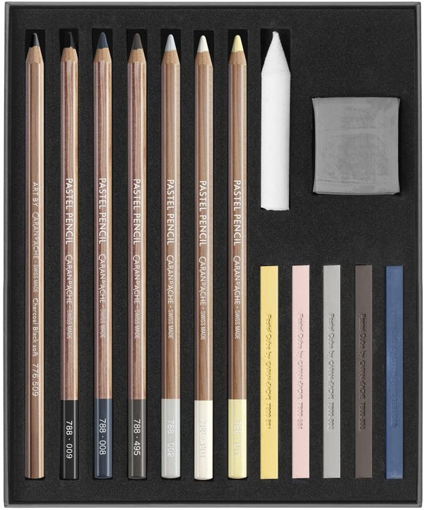 Caran d'Ache ART BY Sketching Set of 15 : Light & Shade Pastel & Graphite