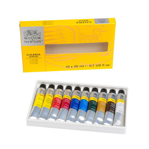 This set contains a selection of 10 tubes of 20ml Galeria Acrylic paint in popular colours. Includes: Lemon Yellow Hue, Cadmium Yellow Medium Hue, Cadmium Red Hue, Permanent Rose, Ultramarine, Cerulean Blue Hue, Phthalo Green (Blue Shade), Yellow Ochre, Raw Umber, Titanium White