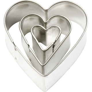 Makins metal shape heart cutters set of 3