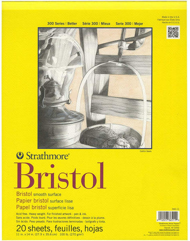 Strathmore 300 Series, Bristol Smooth Paper Pad  A4 - 20 sheets of 270gsm Paper