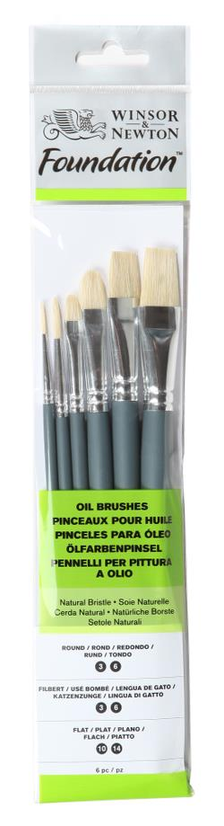 Winsor & Newton Foundation Natural  Bristle Oil brushes mixed pack of six