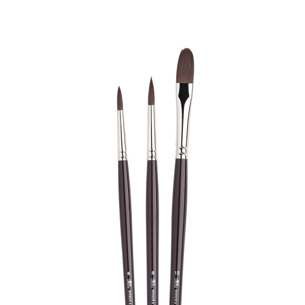 Winsor & Newton : Galeria Acrylic Brushes : Long handled set of 3Winsor & Newton : Galeria Acrylic set of 3brushes. These elegant brushes have a beautiful mahogany look, great balance with a firm fibre.