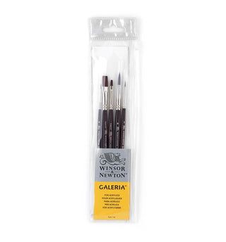 Winsor & Newton : Galeria Acrylic Brushes : Short handled set of 5Winsor & Newton : Galeria Acrylic set of 5 brushes. These elegant brushes have a beautiful mahogany look, great balance with a firm fibre.