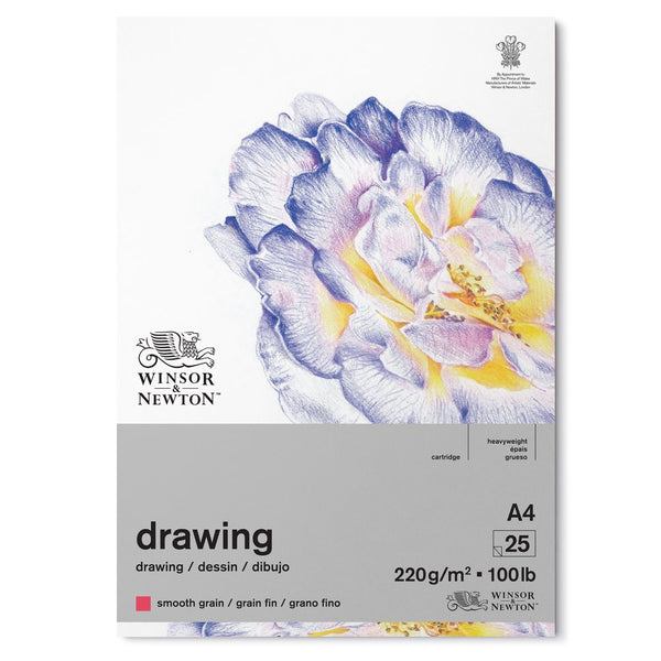 NEW Winsor & Newton smooth surface drawing pad 220 gsm 25 sheets A4. The smooth surface of this paper, makes it ideal for a variety of drawing media, such as pen, Ink, pencil and coloured pencils.Each pad contains 25 sheets and is available in a choice of sizes.