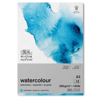 Winsor & Newton, newly designed Watercolour pads. Each pad has 12 easily removable gummed edge sheets, with a 25% Cotton/Cellulose mix, they are an absolute joy to work on. The surface displays colour beautifully, the vibrancy and transluceny of Watercolour paints, are reflected upon the surface with stunning results