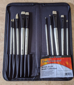 Daler Rowney : Simply Simmons : Acrylic & Oil Brush set : Zipped Case with long 10 brushes