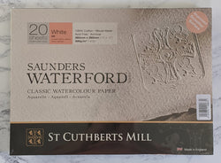Saunders Waterford White 100% Cotton 300 gsm Watercolour Paper : Hot Press 26 x 36cm (10 x 14