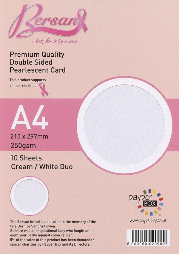 A4 Payperbox Pearlescent card 250 gsm : Cream / White Duo
