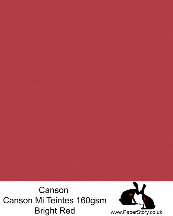 Canson Mi Teintes acid free, Bright red with a hint of Pink hammered texture honeycomb surface paper 160 gsm. This is a popular and classic paper for all artists especially well respected for Pastel  and Papercutting made famous by Paper Panda. This paper has a honeycombed finish one side and fine grain the other. An authentic art paper, acid free with a  very high 50% cotton content. Canson Mi-Teintes complies with the ISO 9706 standard on permanence, a guarantee of excellent conservation