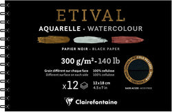 Étival-Clairefontaine: Watercolour : Black Paper Spiral pad 300gsm  : Cold Press : 7 x 4.5 inches : 12  Sheets Black