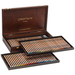 Caran d'Ache Luminance Wooden Box Gift Set of 76 Artist Pencils + 4 repeat colours + 2 full blenders & 2 Grafwood pencils FREE SPECIAL DELIVERY